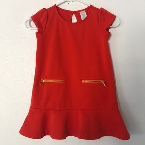 Gymboree Orange Trumpet Dress with Gold Detail